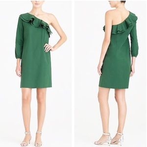 New✨J. Crew Green One Shoulder Poplin Cotton Dress